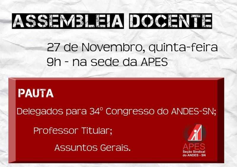 cartaz assembleia 27 de novembro
