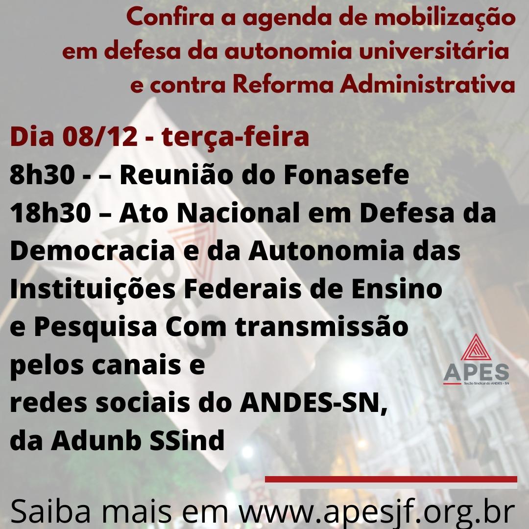 Agenda de mobilização em defesa da autonomia universitária e contra a reforma administrativa